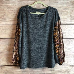 NWT Style & Co long sleeve gray blouse L L12